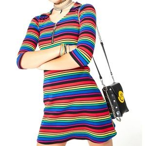DOLLS KILL new NWT rainbow striped dress